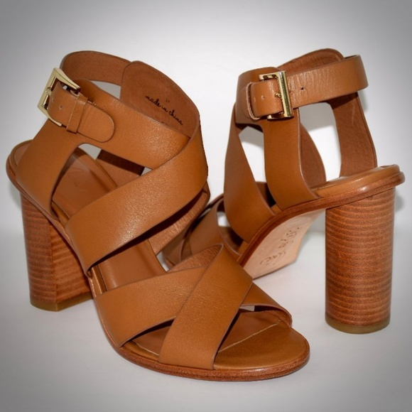 d9e87658cac Joie Brown Avery Leather Sandal Heels 7 Crisscross